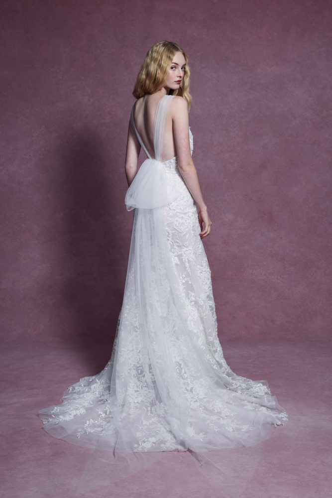 Cap Sleeve V-neckline Floral Beaded Fit And Flare Wedding Dress by Marchesa - Image 2