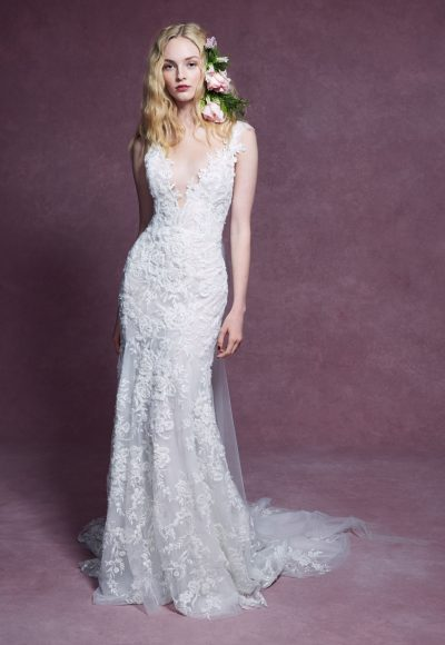Cap Sleeve V-neckline Floral Beaded Fit And Flare Wedding Dress by Marchesa