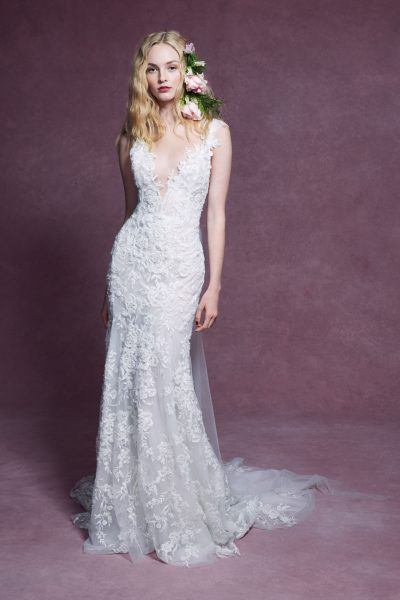 Cap Sleeve V-neckline Floral Beaded Fit And Flare Wedding Dress by Marchesa - Image 1