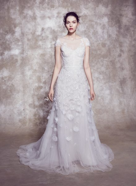 Illusion Neckline Cap Sleeve A-line Wedding Dress With Corset Bodice And 3D Floral Appliqués by Marchesa - Image 1