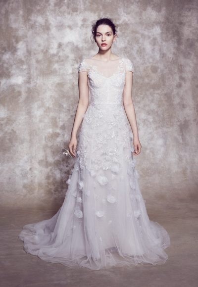 Illusion Neckline Cap Sleeve A-line Wedding Dress With Corset Bodice And 3D Floral Appliqués by Marchesa