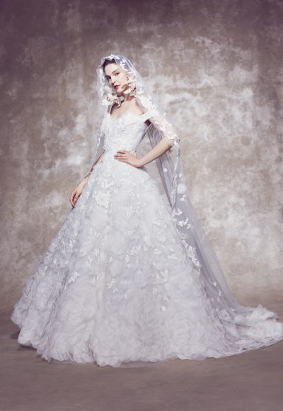 Off-the-shoulder 3D Floral Embroidered Ball Gown Wedding Dress by Marchesa