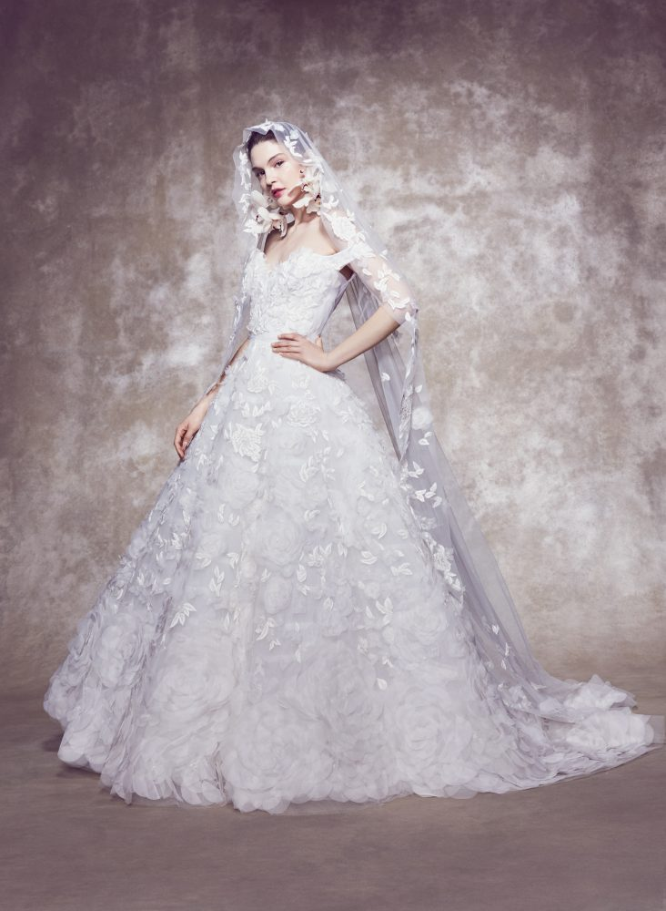 Off-the-shoulder 3D Floral Embroidered Ball Gown Wedding Dress by Marchesa - Image 1