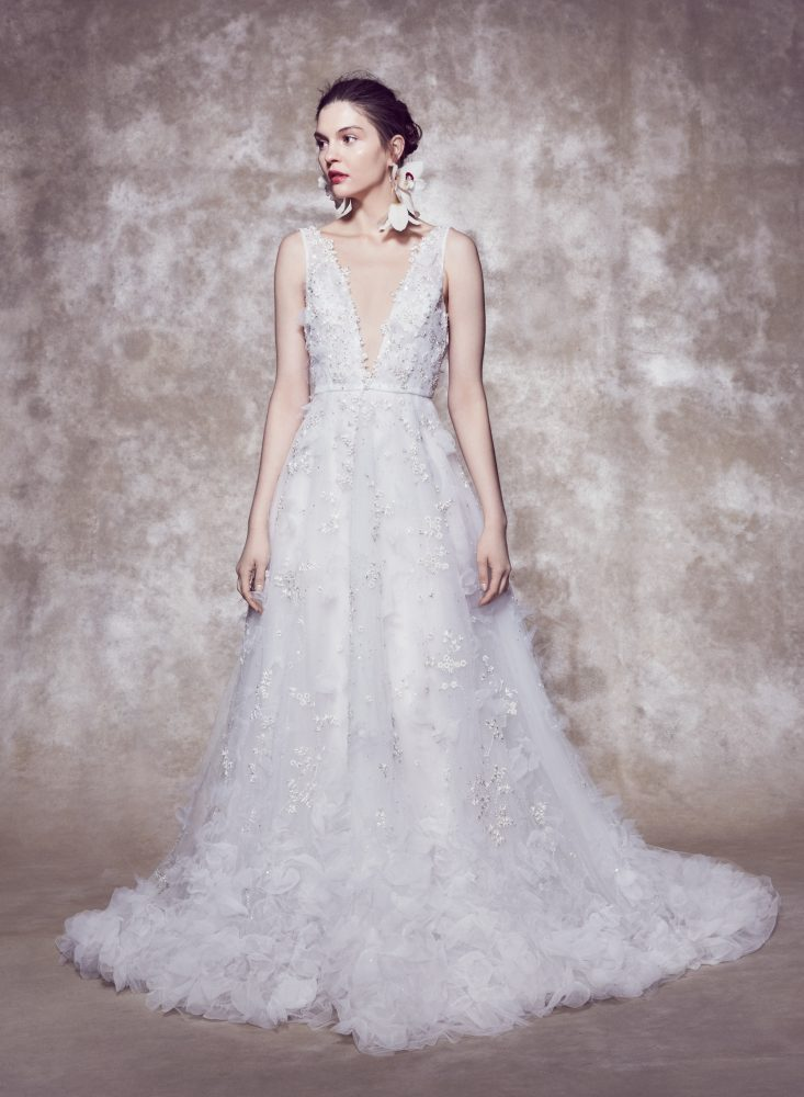 Sleeveless Plunging V-neckline 3D Floral A-line Wedding Dress With Organza Petals by Marchesa - Image 1