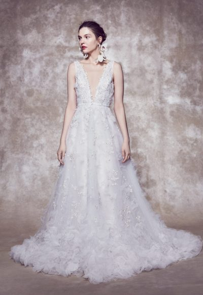 Sleeveless Plunging V-neckline 3D Floral A-line Wedding Dress With Organza Petals by Marchesa