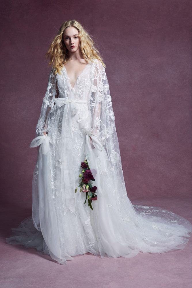 Sleeveless Plunging V-neckline 3D Floral A-line Wedding Dress With Sash And Matching Cape by Marchesa - Image 2