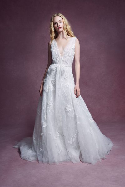 Sleeveless Plunging V-neckline 3D Floral A-line Wedding Dress With Sash And Matching Cape by Marchesa - Image 1