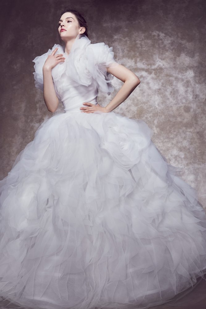 Strapless 3D Floral Textured Organza Wedding Dress With Matching Jacket by Marchesa - Image 1