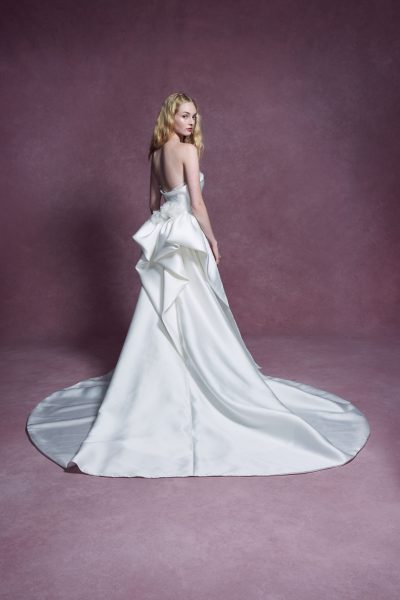 Strapless Duchess Satin Fit And Flare Wedding Dress With Detachable Train by Marchesa - Image 2