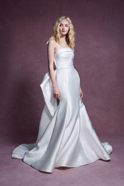 Strapless Duchess Satin Fit And Flare Wedding Dress With Detachable Train by Marchesa - Image 1