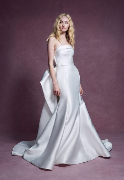Strapless Duchess Satin Fit And Flare Wedding Dress With Detachable Train by Marchesa