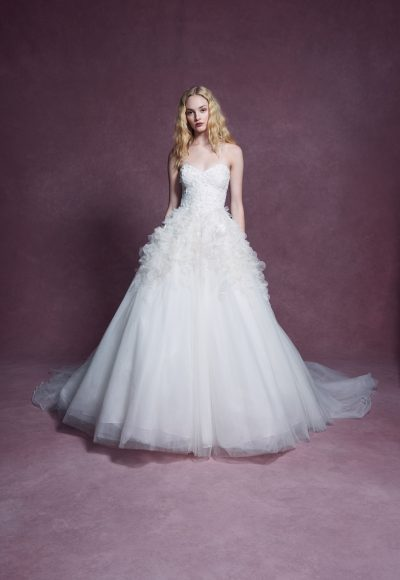 Strapless Sweetheart Neckline 3D Floral Embroidered Ball Gown Wedding Dress by Marchesa