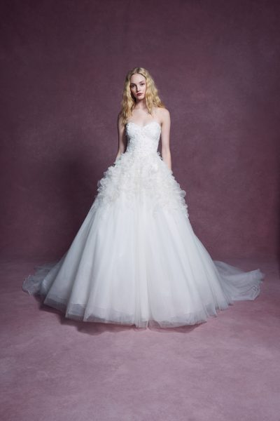 Strapless Sweetheart Neckline 3D Floral Embroidered Ball Gown Wedding Dress by Marchesa - Image 1