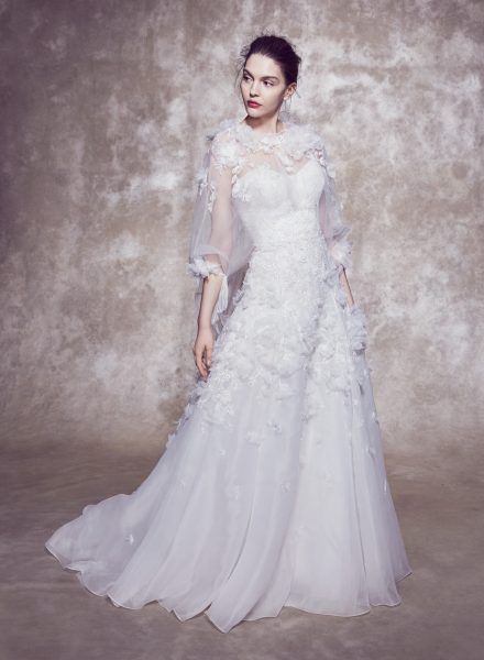 Strapless Sweetheart Neckline Silk Mesh 3D Floral Embroidered A-line Wedding Dress With Matching Jacket by Marchesa - Image 1