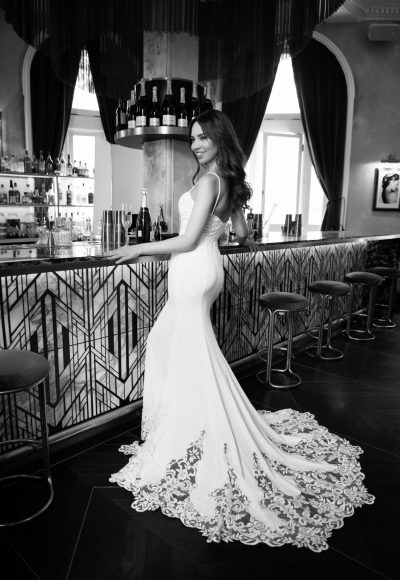 Spaghetti Strap Sweetheart Neckline Crepe Fit And Flare Wedding Dress by Michelle Roth