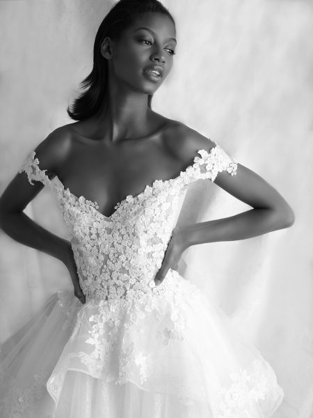 Off-the-shoulder Ballgown With Floral Lace Bodice And Tulle Skirt by Michelle Roth - Image 2