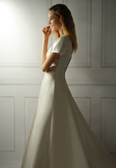 Cap Sleeve V-neckline Satin A-line Wedding Dress With Buttons On Back by Michelle Roth