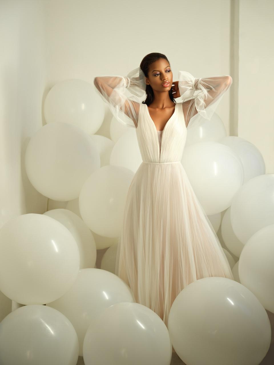 Draped Long Sleeve V Neckline A Line Blush Wedding Dress Kleinfeld Bridal