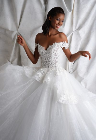 Off-the-shoulder Ballgown With Floral Lace Bodice And Tulle Skirt by Michelle Roth