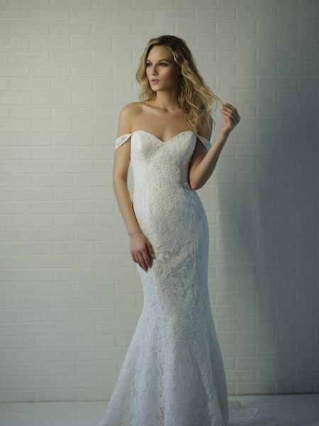 Off-the-shoulder Sweetheart Lace Fit And Flare Wedding Dress by Michelle Roth - Image 1