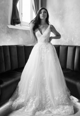 Sleeveless V-neckline A-line Wedding Dress With Beaded Floral Embroidery by Michelle Roth - Image 1