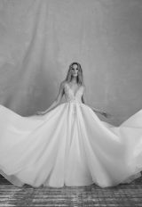Sleeveless V-neckline Ball Gown Wedding Dress With Crystal Beaded Bodice And Organza Skirt by Michelle Roth - Image 1