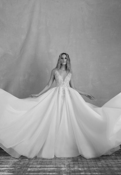 Sleeveless V-neckline Ball Gown Wedding Dress With Crystal Beaded Bodice And Organza Skirt by Michelle Roth