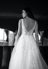 Sleeveless V-neckline Beaded And Embroidered A-line Wedding Dress With Low Back by Michelle Roth - Image 1