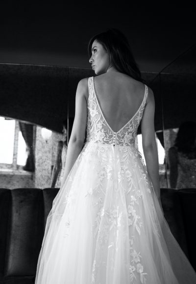 Sleeveless V-neckline Beaded And Embroidered A-line Wedding Dress With Low Back by Michelle Roth