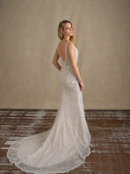 Sleeveless V-neckline Beaded Fit And Flare Wedding Dress by Michelle Roth - Image 2