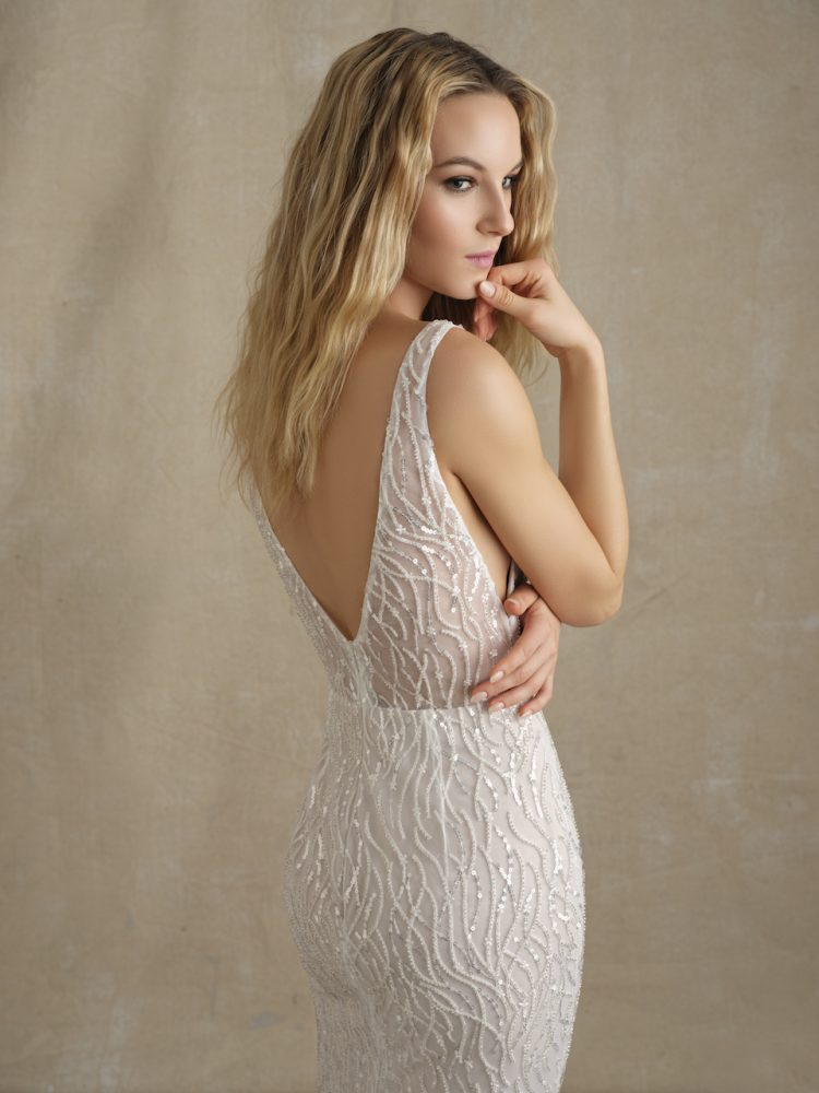 Sleeveless V-neckline Beaded Fit And Flare Wedding Dress by Michelle Roth - Image 1
