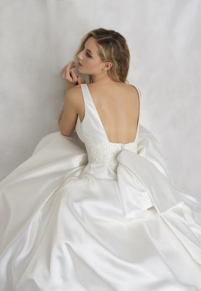 Sleeveless V-neckline Mikado A-line Wedding Dress With Detachable Bow by Michelle Roth