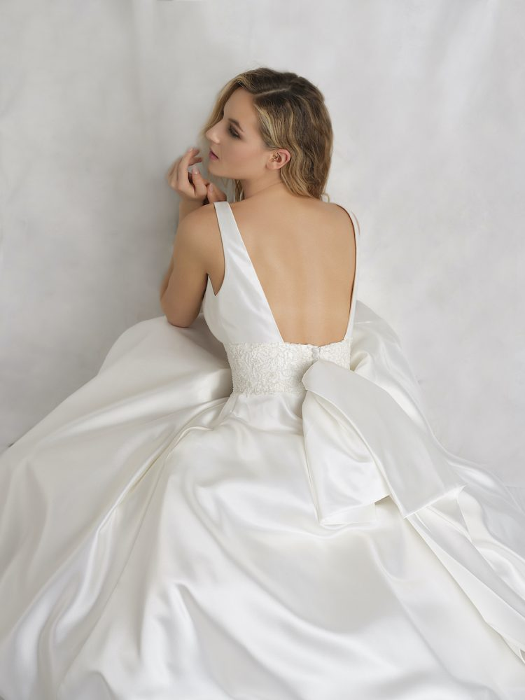 Sleeveless V-neckline Mikado A-line Wedding Dress With Detachable Bow by Michelle Roth - Image 1