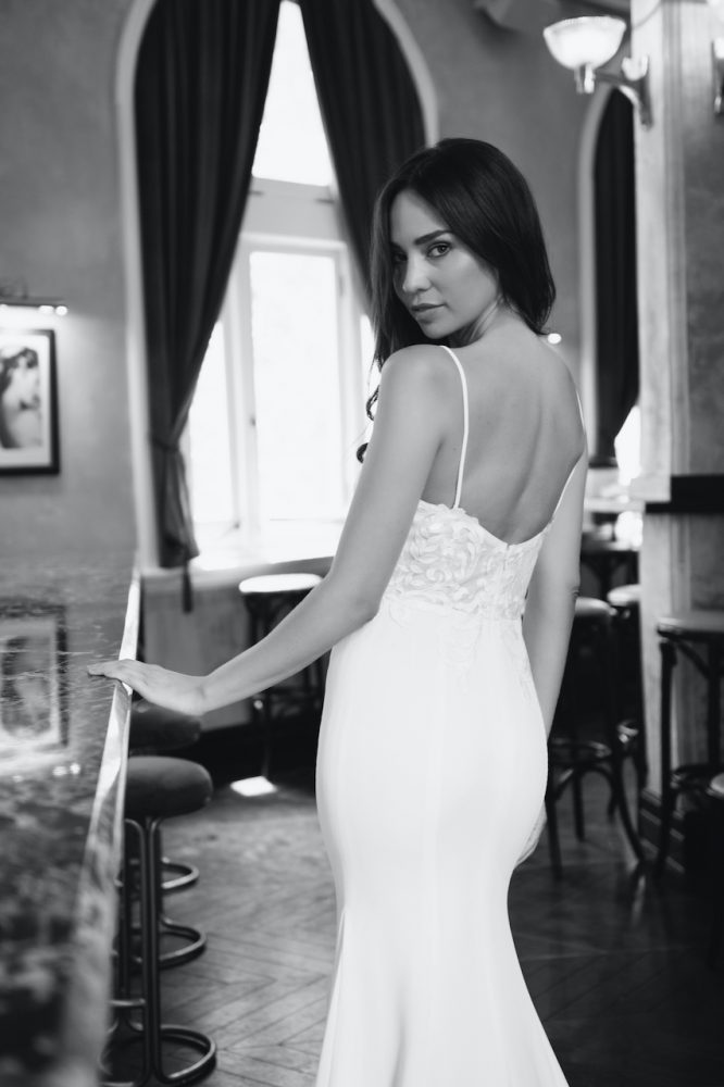 Spaghetti Strap Sweetheart Neckline Crepe Fit And Flare Wedding Dress by Michelle Roth - Image 2