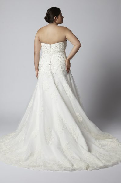 Strapless Sweetheart Beaded Lace A-line Wedding Dress by Henry Roth - Image 2