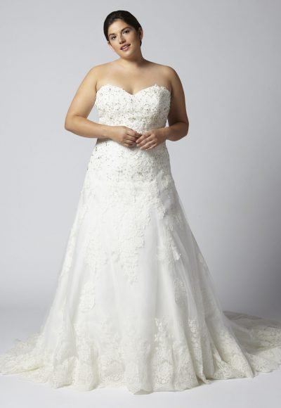 Strapless Sweetheart Beaded Lace A-line Wedding Dress by Henry Roth