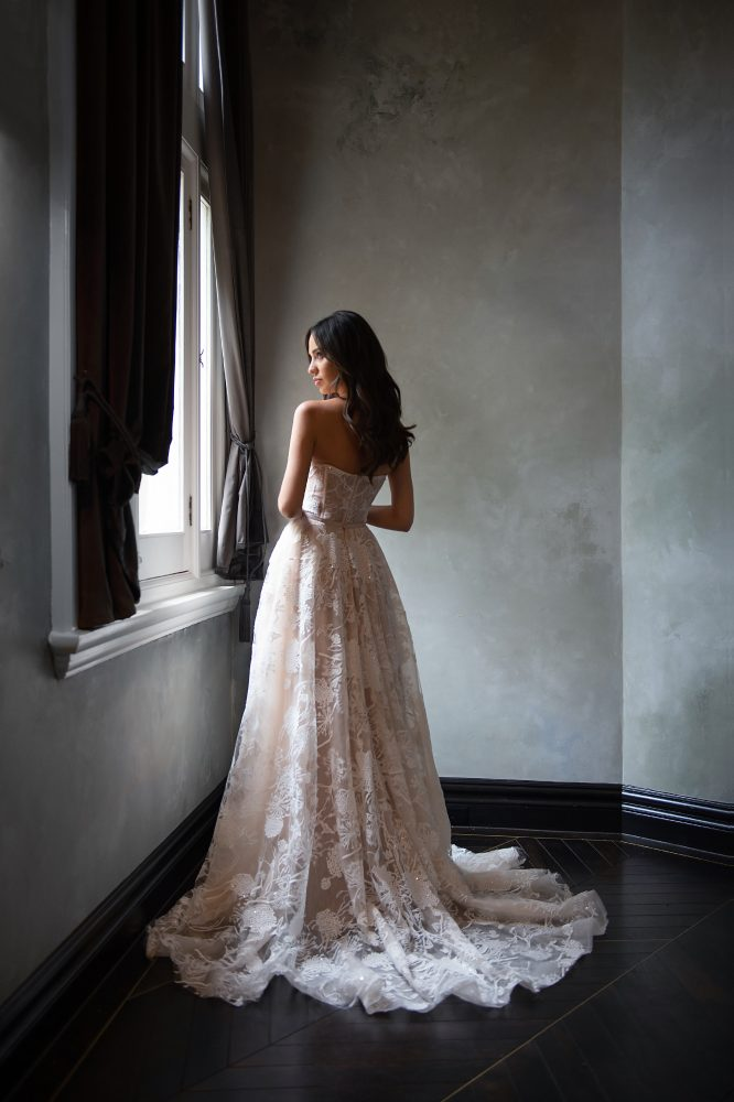 Strapless Sweetheart Neckline Blush A-line Wedding Dress With Corset Bodice by Michelle Roth - Image 2