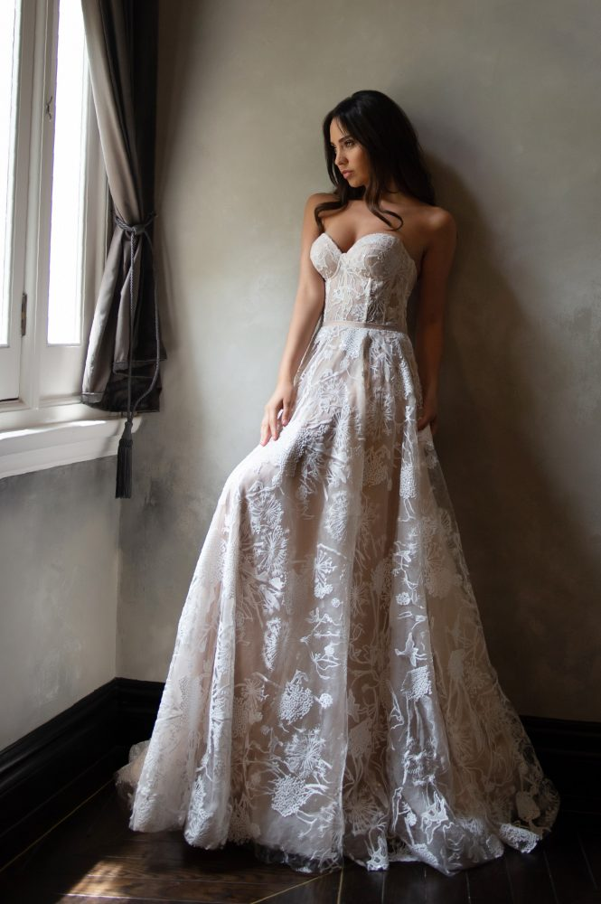 Strapless Sweetheart Neckline Blush A-line Wedding Dress With Corset Bodice by Michelle Roth - Image 1