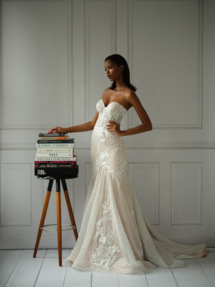Strapless Sweetheart Neckline Lace Mermaid Wedding Dress With Corset by Michelle Roth - Image 2