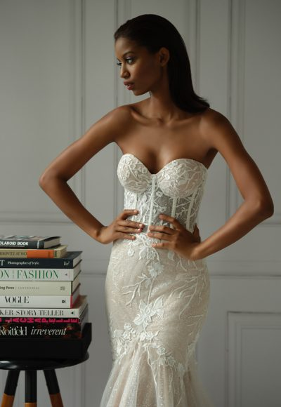 Strapless Sweetheart Neckline Lace Mermaid Wedding Dress With Corset by Michelle Roth