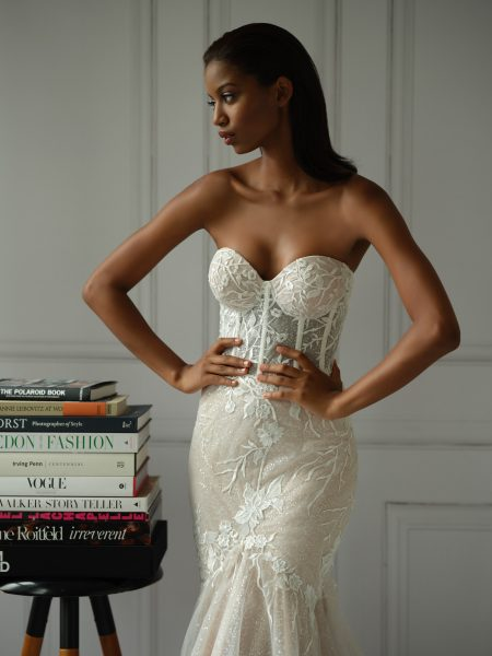 Strapless Sweetheart Neckline Lace Mermaid Wedding Dress With Corset by Michelle Roth - Image 1