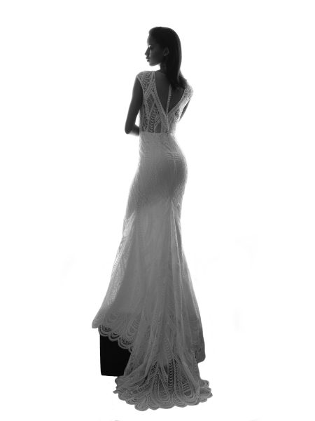 V-neckline Cap Sleeve Lace Fit And Flare Wedding Dress by Michelle Roth - Image 1