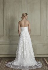 Strapless straight neckline sheath wedding dress with floral appliqué tulle skirt by Sareh Nouri - Image 2