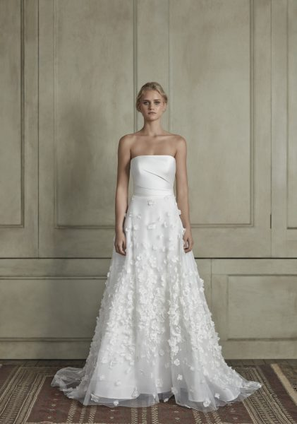 Strapless straight neckline sheath wedding dress with floral appliqué tulle skirt by Sareh Nouri - Image 1