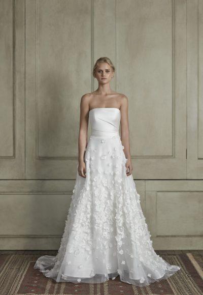 Strapless straight neckline sheath wedding dress with floral appliqué tulle skirt by Sareh Nouri