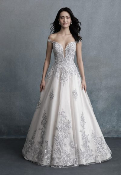 Off The Shoulder V-Neck Ball Ball Wedding Dress by Allure Bridals
