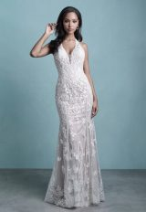 Sleeveless Sheath Wedding Dress With Embroidered Detail by Allure Bridals - Image 1