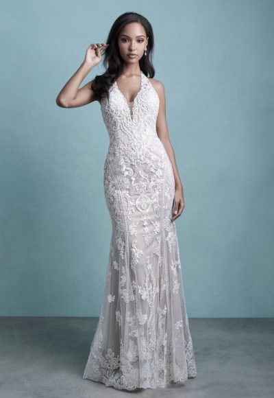 Sleeveless Sheath Wedding Dress With Embroidered Detail by Allure Bridals