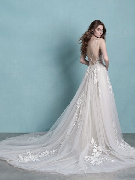 Sleeveless V-Neck Tulle A-line Wedding Dress by Allure Bridals - Image 2
