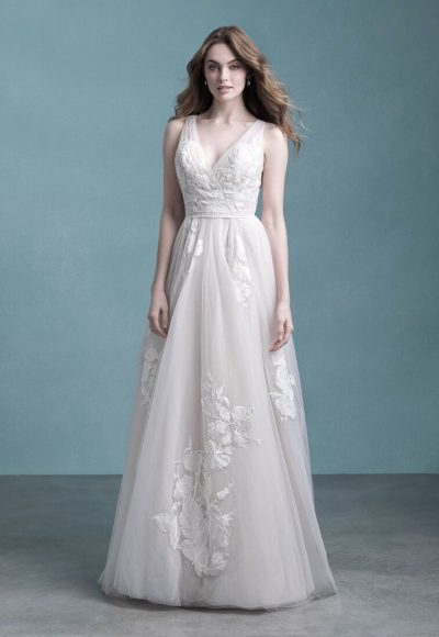 Sleeveless V-Neck Tulle A-line Wedding Dress by Allure Bridals